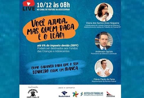 Assescofran promove live sobre destinação do Imposto de Renda; Veja!