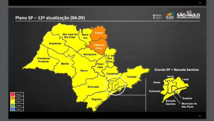 Franca e Ribeirão Preto são as únicas na fase laranja do Plano SP